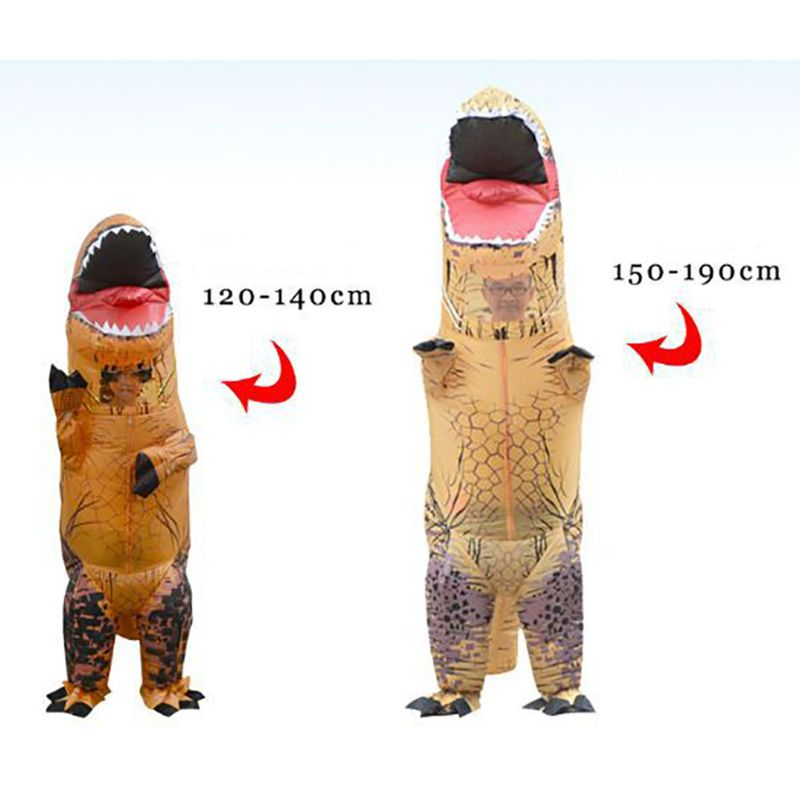Inflatable Dinosaur Costume Mascot Child Adults Halloween Dino Blowup Outfit Cosplay