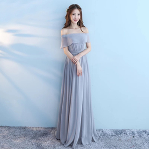 Image 4 - New 6 Style Pink Blush Dress For Women Sexy Chiffon Bridesmaid Dresses Backless Wedding Party Dress Long Gala Gowns Elegant Gray