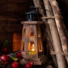 Vintage lámpara de madera faro candelabro jardinería decoración hogar balcón ornamentos romántico regalo de boda