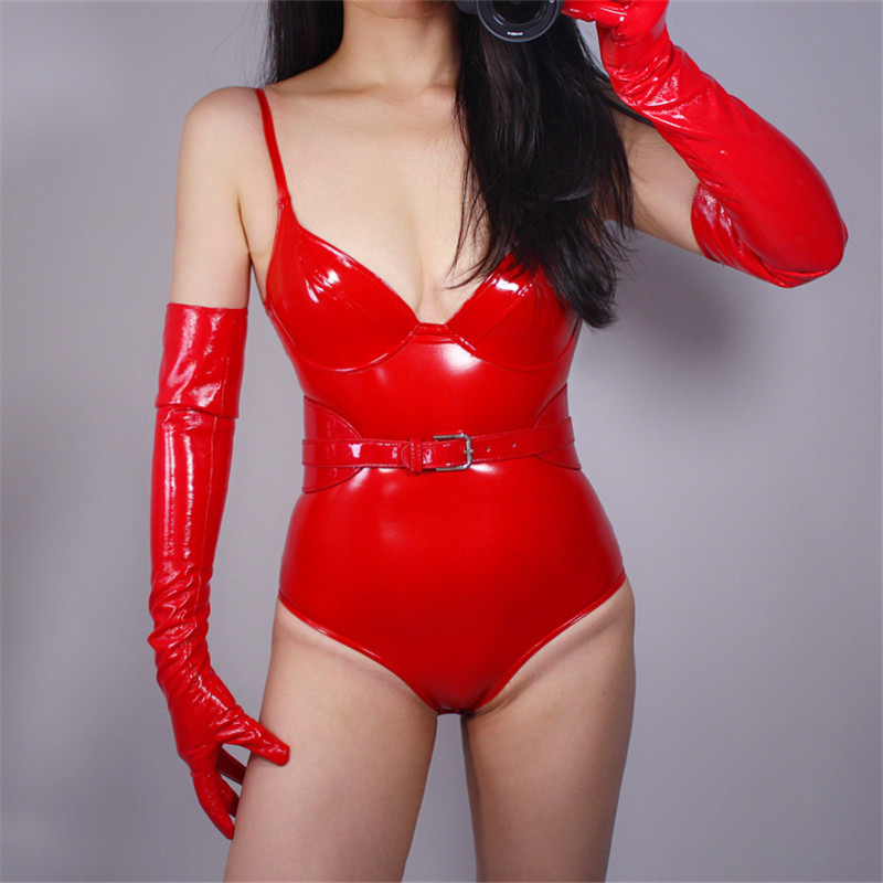 2020 New Patent Leather Gloves 60cm Bright Red Extra Long Emulation Leather Over Elbow Cosplay Brilliant Red Female WPU05