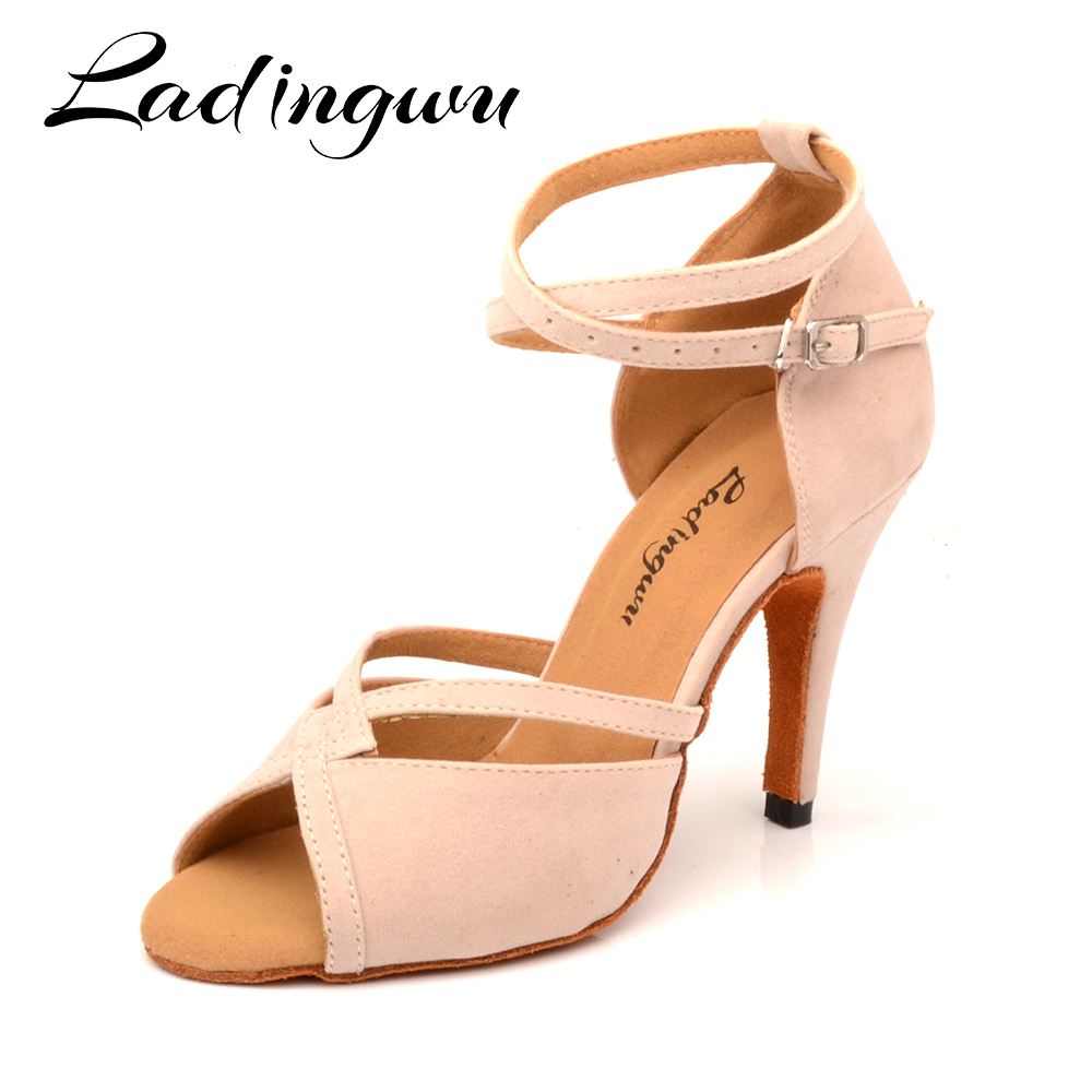 Ladingwu Hot Women Dance Shoes Latin Ballroom Dance Shoes Ladys Girls Salsa Dance Shoes Beige Suede Heels 6-10cm