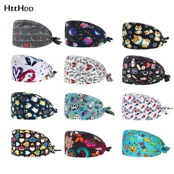 new fashion Multicolor cartoon printing hat adjustable Scrub hat beauty salon nursing cap laboratory pet shop fashion scrub cap