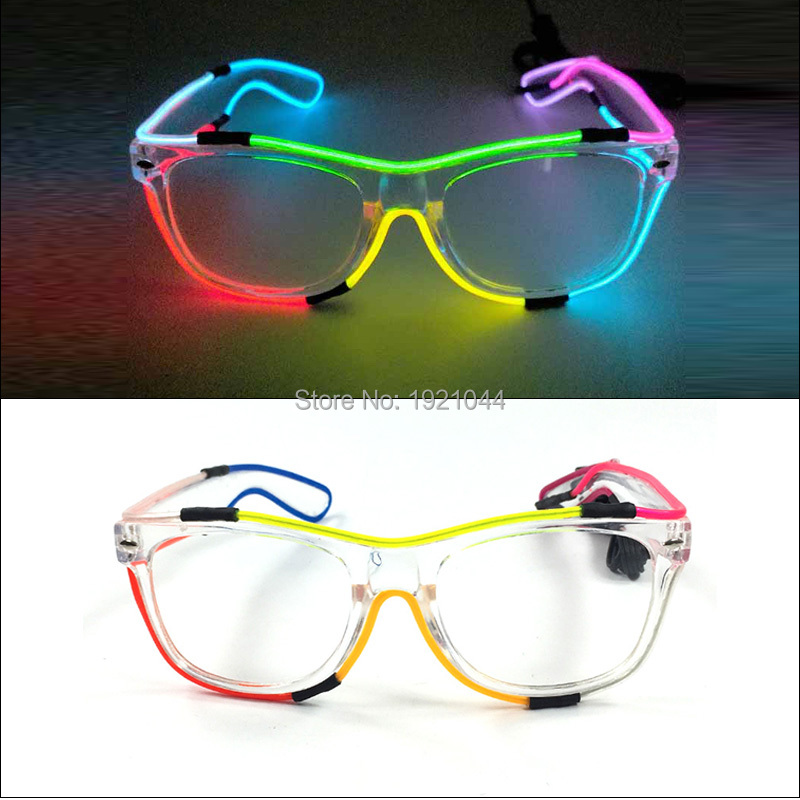 New Design EL Wire Flashing Glasses Colorful EL Neon Glasses LED Glasses Glowing Party Supplies Novelty Gift Glow Sunglasses