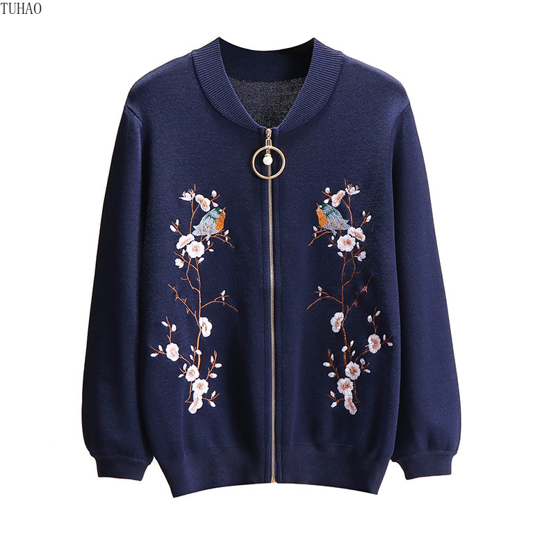 2019 Fall Floral Bird Embroidery Sweater Coat Zipper Long Sleeve Woman's Knitted Bomber Jackets Cardigans Sueter Mujer T2905