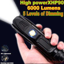 LED Flashlight With P90 Lamp bead High power 6200LM Tactical waterproof Torch Smart chip control With bottom attack cone