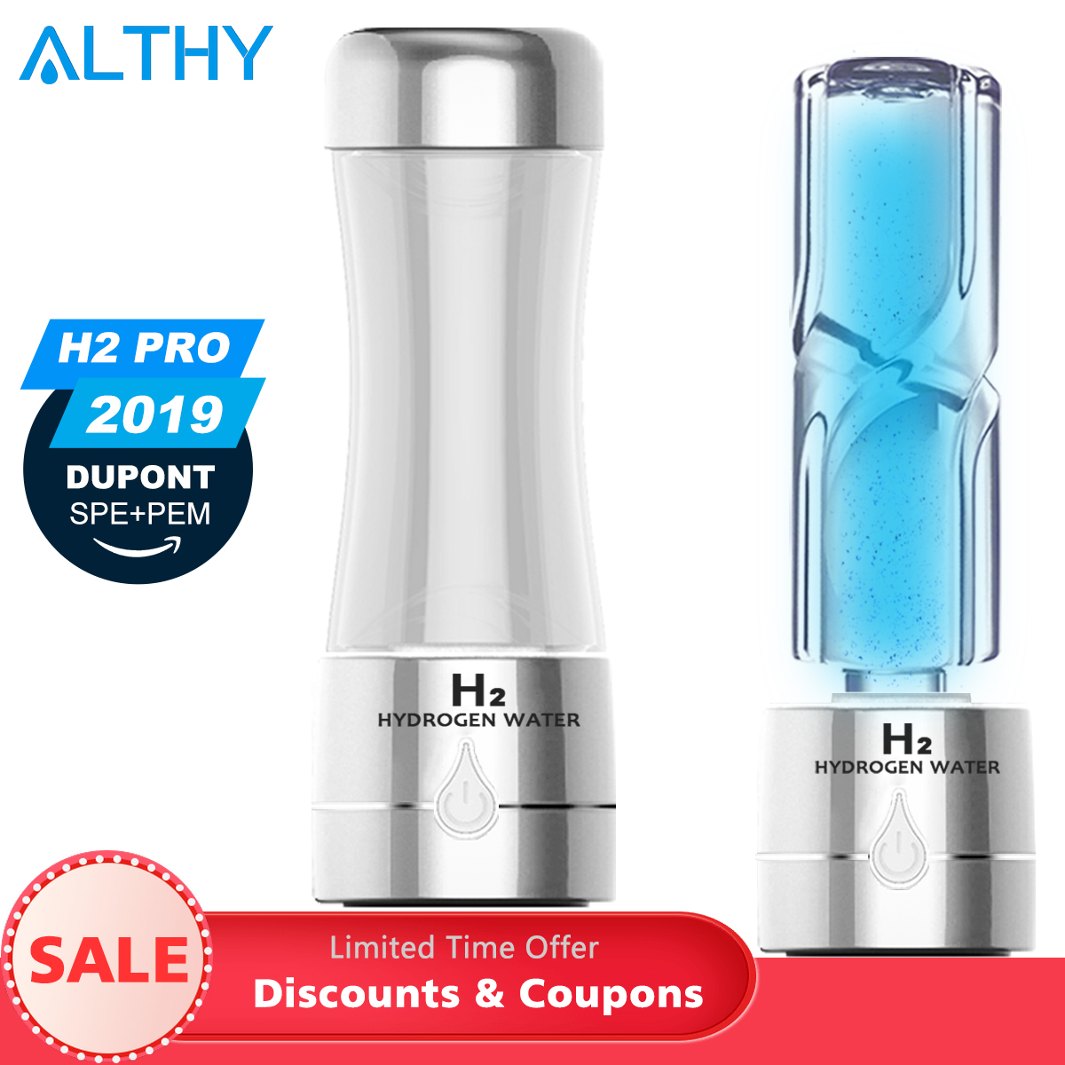 ALTHY H2 PRO Hydrogen Water Generator Bottle DuPont SPE PEM Dual Chamber Technology Maker Lonizer Electrolysis Rich Max 3000ppb