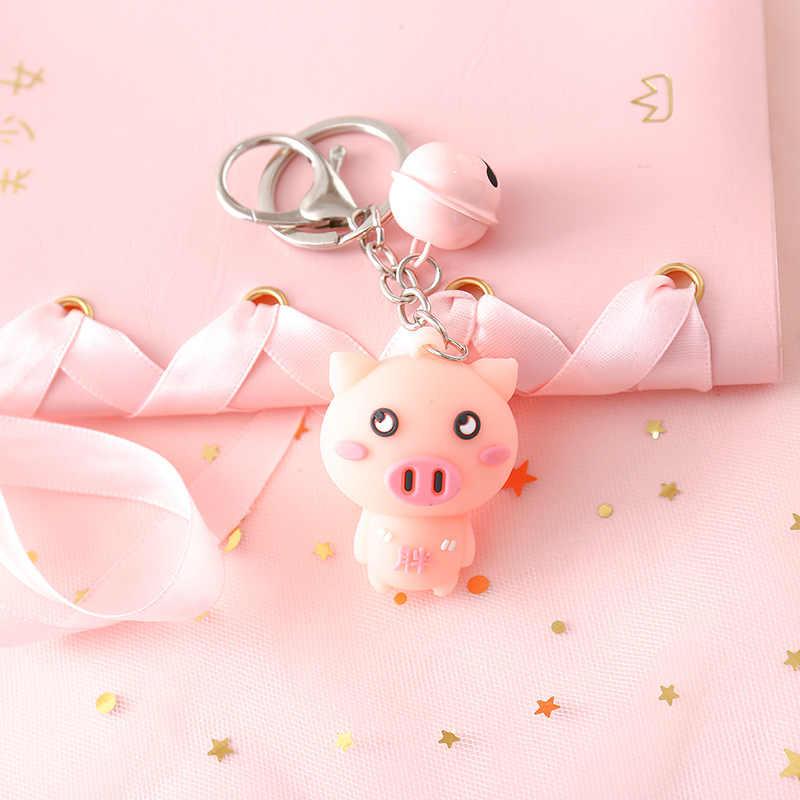 2019 Nova Adorável Porco Cor de Rosa Da Corrente Chave DO PVC Chave Anel para As Mulheres Jóias Animal Sino Boneca Bonito Chaveiro de Carro Melhor amigo Presente