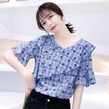 Ruffles Chiffon 2019 Summer New Cotton Printed Office Shirt Short sleeve Women Blouses Casual Feminine Tops 81E