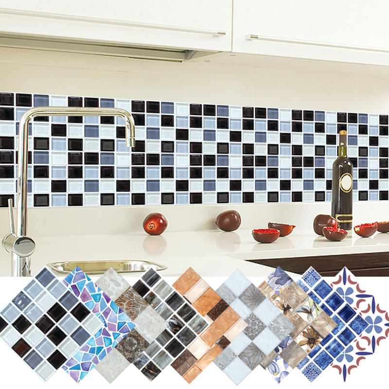 6pcs 3D Stereo Wall Stickers Self-adhesive Wallpaper Simulation Mosaic Tile Stickers Kitchen Oil Stickers Waterproof 20x20cm Q