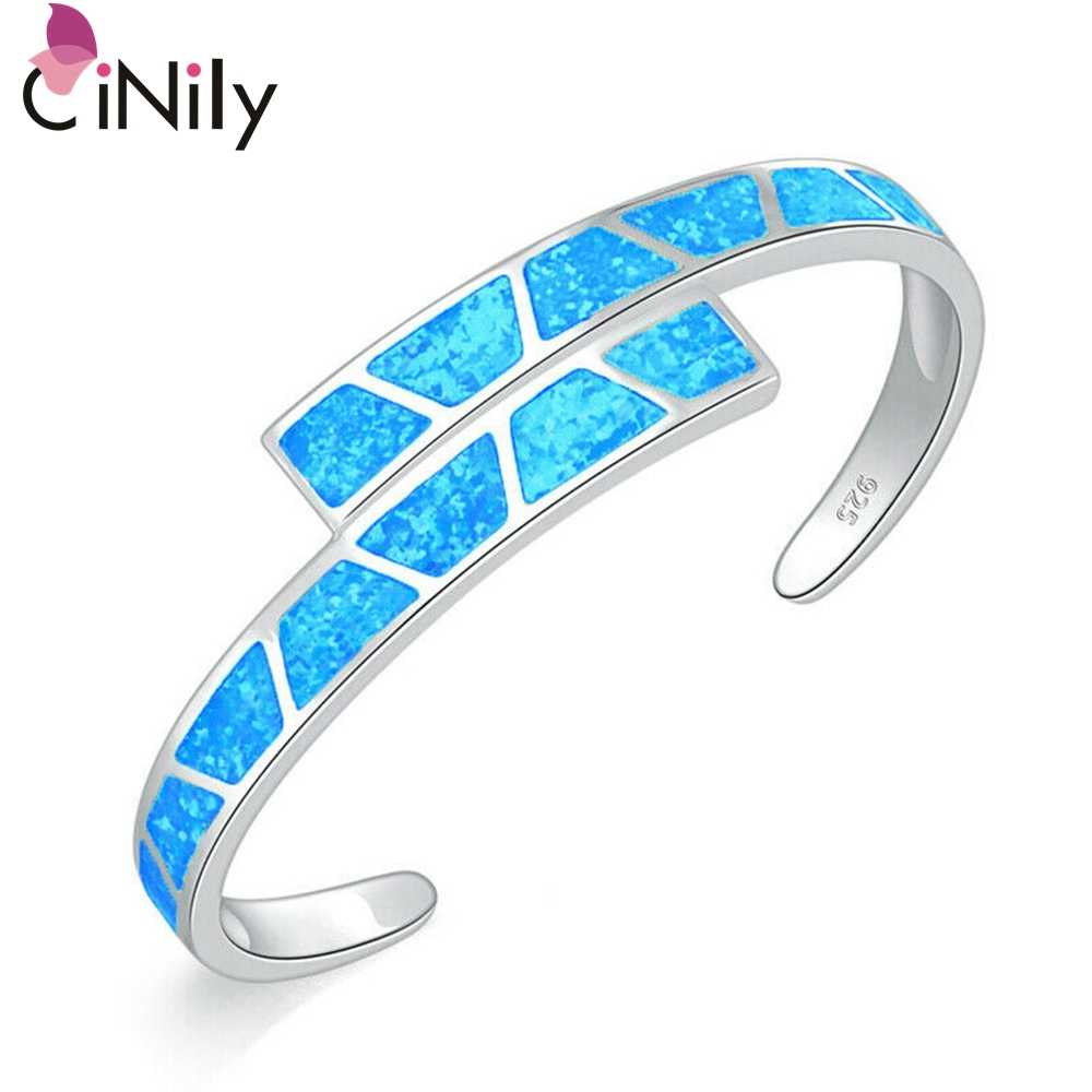 CiNily Ocean Blue Fire Opal Stone Open Bangles Silver Plated Adjustable Bracelet Luxury Large Spring Jewelry Bohemia Boho Female