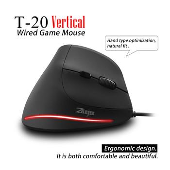 ZELOTES T20 pionowa programowalna mysz do gier pionowa ergonomiczna pionowa mysz optyczna przewodowa gra 6 przycisków mysz LED 3200 DPI tanie i dobre opinie VAKIND CN (pochodzenie) PRZEWODOWY 3000 Dla palców Prawo Black USB Wired Optical 1200-1600-2400-3200DPI 6 Keys 5V 100mA