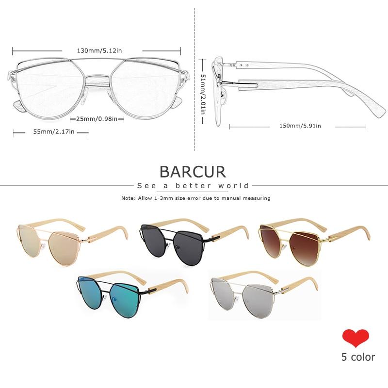 H0674258c62404f3cb93d6198993a9fc28 BARCUR Bamboo Cat Eye Sunglasses Polarized Metal Frame Wood Glasses Lady Luxury Fashion Sun Shades With Box Free