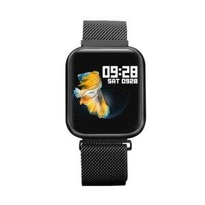 Mężczyźni P80 inteligentna opaska wodoodporna IP68 bransoletka sportowa Monitor aktywności fizycznej pulsometr swim Smartwatch dla IOS Android