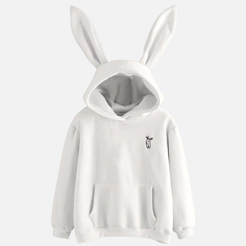 Women Rabbit Ear Girl Long Sleeve Hoodies Sweatshirts Autumn Hooded Coats Lovely Female Jumper 2020 New Spring Bunny Hoodies
