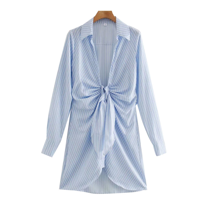 TRAF Women Chic Fashion With Knot Striped Pleated Mini Dress Vintage Long Sleeve Irregular Female Dresses Mujer 7