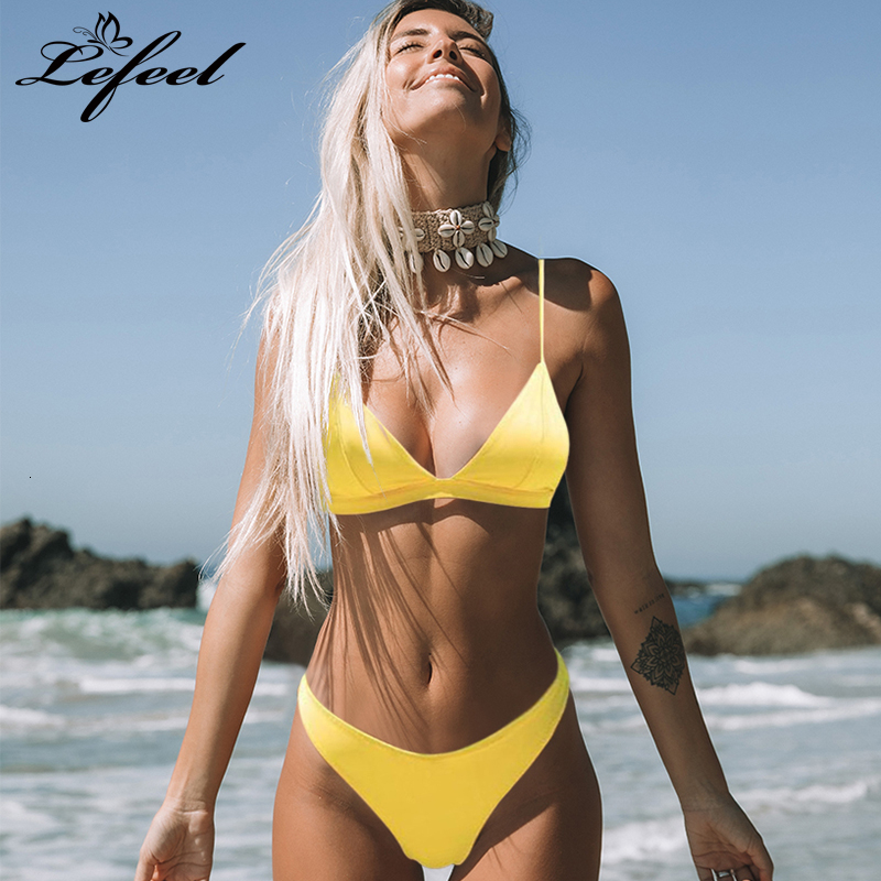 Sexy High Cut Swimsuit Women Solid Brazilian Swimwear Bikini Set Summer Bathing Suit Female Low Waist Red Beach Wear Biquini