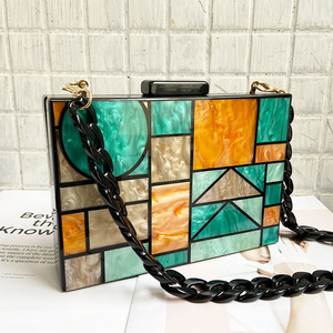 Image 3 - 2020 New brand acrylic patchwork Evening bags Handbags  Vintage Women messenger bags Geometric Pattern Clutches Party Prom purse