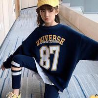 2020 Sport Suit For Girls Teenage Baby Girl Clothes Set Toddler Girls Clothing Set Plus Velvet Thick Sweatshirts + Leggings 8 12