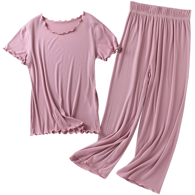 Traje japonés de algodón de manga corta para mujer, pantalón de nueve puntos, traje de servicio para el hogar, pijamas para el hogar, talla grande, novedad de verano