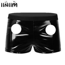 Latex Shorts Underwear Tight Parties Mens Patent Iiniim Hole Moto Lingerie Slim-Fit Wet-Look