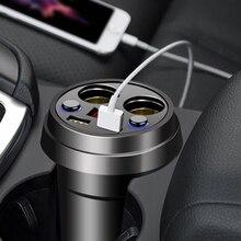 Чашка автомобильное зарядное устройство Многофункциональный дисплей Напряжение 3.1A 2 USB Автомобильное зарядное устройство DC12-24V прикуривателя Разветвитель для gps DVR зарядки
