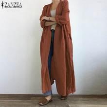 2021 moda kadın uzun hırka sonbahar uzun kollu açık ön bluz ZANZEA Vintage katı dantel gömlek gevşek tunik üst kimono