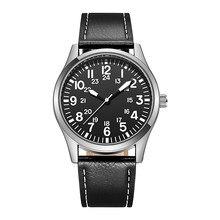 Mnner Pilot Uhren Einfach Lesen KlassischeLederband Quarz EinfacheDisplay