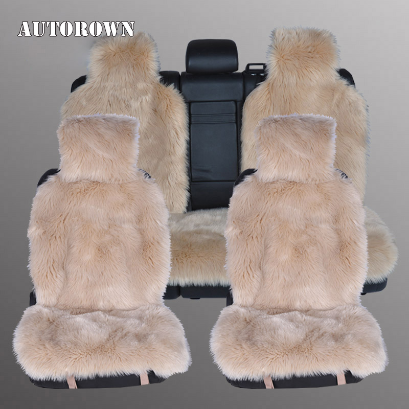 AUTOROWN High Quality Long Wool Faux Far Car Seat Covers Universal Size Automobiles Seat Covers Artificial Plush Four Seasons