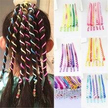 6 шт./лот, радужная повязка на голову, милая лента для волос для девочек, Длинные эластичные резинки для волос с кристаллами, головные уборы, аксессуары для волос, случайный цвет