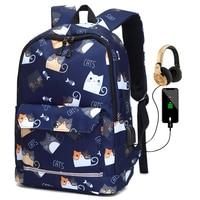 حقائب مدرسية عاكسة بشحن USB للمراهقات ، حقيبة ظهر مدرسية مقاومة للماء ، حقيبة ظهر للطلاب ، حقائب سفر