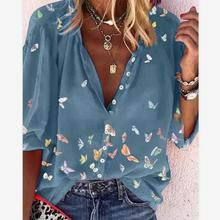 Spring Women's Casual Blouse 2021 New Long Sleeve Butterfly Print Female T-Shirt Summer Half-Sleeves V-Neck Buttons Women Shirts