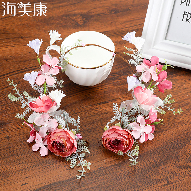 Haimeikang Exquisite Fabric Rose Flowers Crown Travel Prom Party Headdress Bridal Hair Accessories Fairy Tale Flower Garland