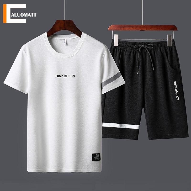 Повседневные мужские летние комплекты Спортивный костюм для мужчин футболка с принтом с короткими рукавами для мальчиков и девочек 2 шт. + ш...
