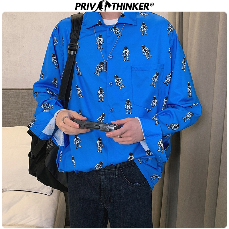 Privathinker Men Korean Spring 2020 Printing Hip Hop Shirt Mens Fashion Street-style  Causal Shirts Male Plus Size Clothes Tops