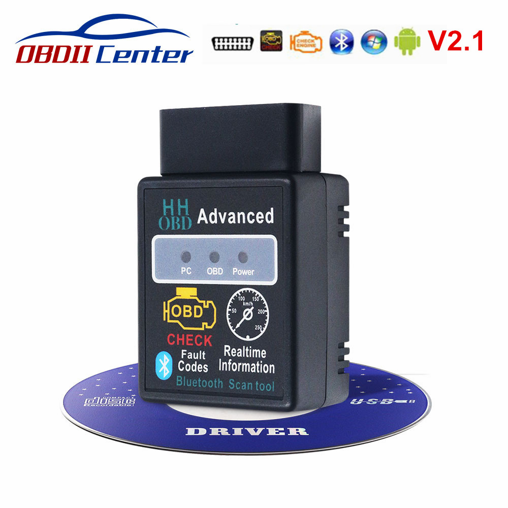 Advanced HH OBD ELM327 Bluetooth Scanner OBD2 ELM 327 V2.1 Diagnostics Auto Code Reader ELM327 2.1 OBD2 Interface Adapter