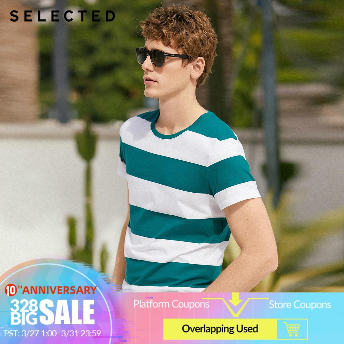 SELECTED Men's Summer 100% Cotton Round Neckline Striped Short-sleeved T-shirt S|419201597