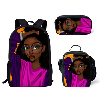 FORUDESIGNS Girls School Bags African Black Girls Hairstyle School Backpack Set Scool Bag For Girl Kids Girl Backpack Junior Bag 20