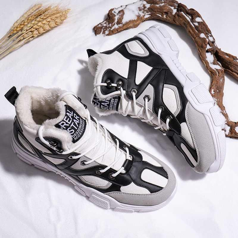 Novos Homens Botas Anti-derrapagem Sapatos de Couro Homens Sapatos Confortáveis Dos Homens Populares Outono Inverno Curto Botas de Neve de Pelúcia Sola Durável