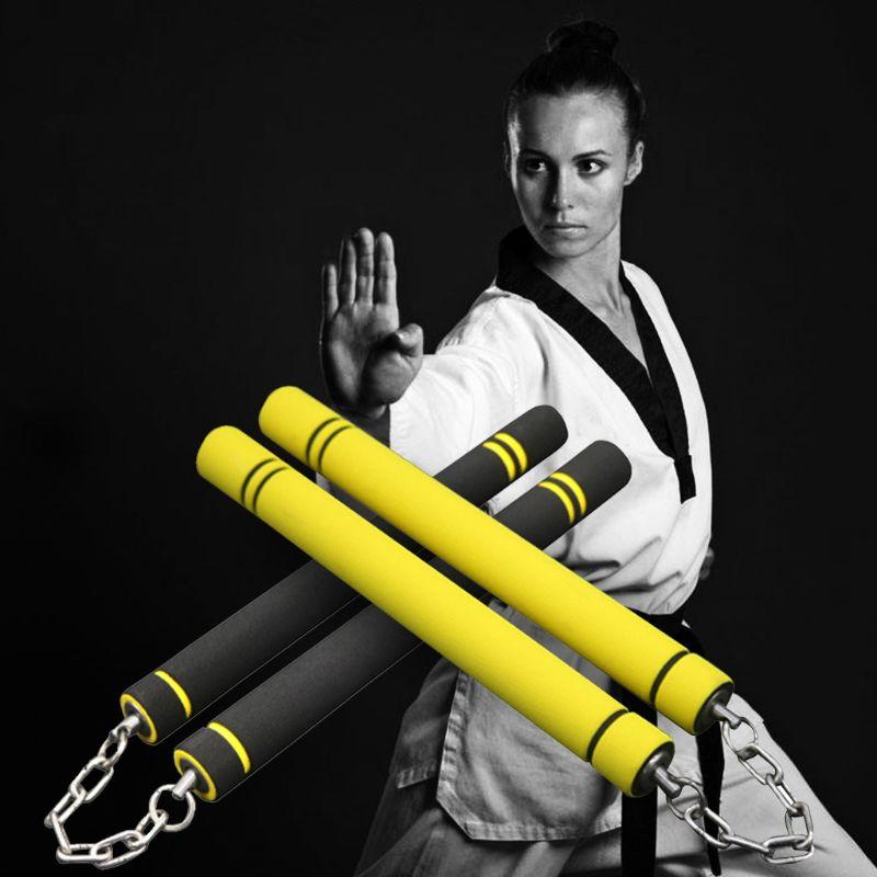 Bruce Lee Nunchucks Yellow Martial Arts Foam Nunchaku Karate Training Stick Hot