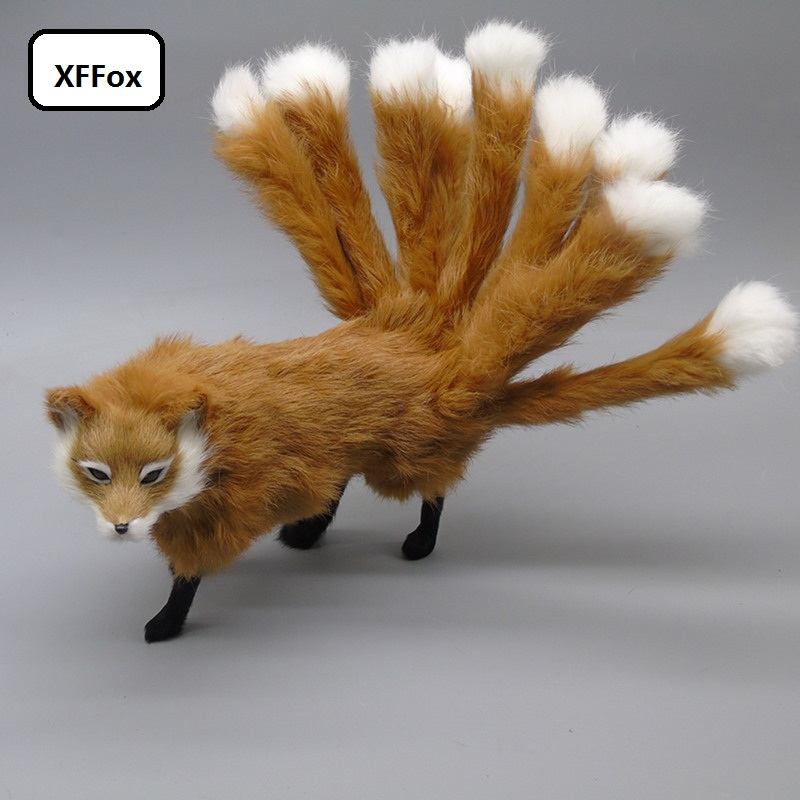 new cute real life fox model plastic&furs simulation yellow nine-tails fox doll gift about 35x10x14cm xf2320