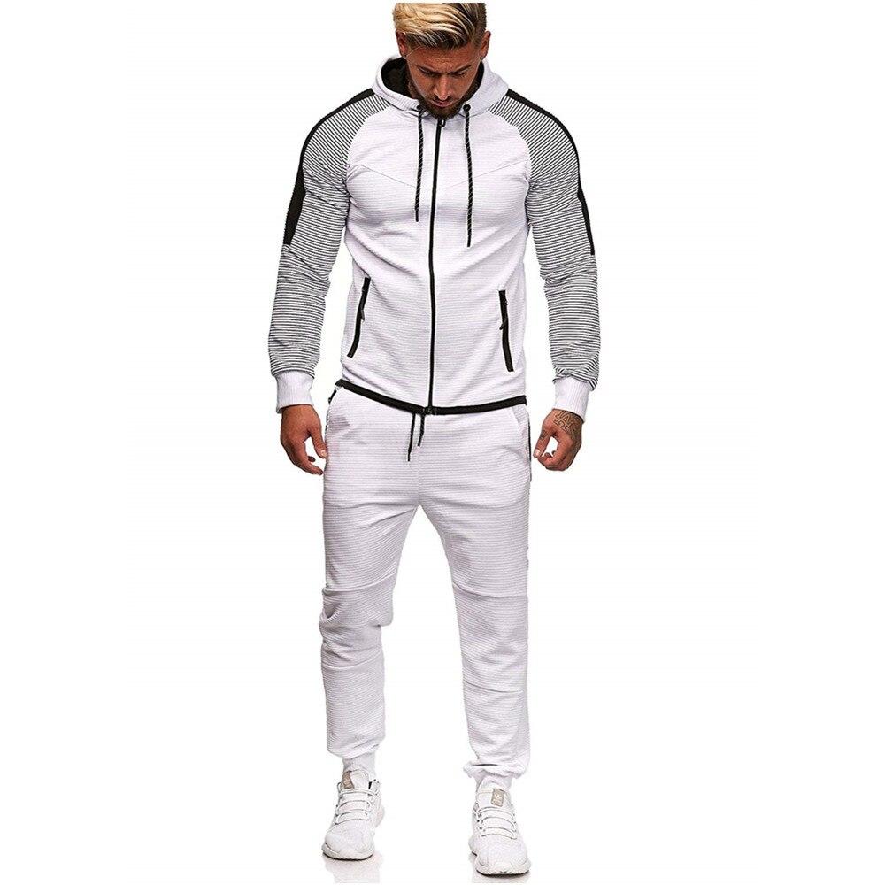 CYSINCOS Hoody Tracksuit Men Jogging Homme Sets Two Piece Patchwork White Men Sport Tracksuits Hoodies Sweatpants Suits Autumn