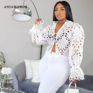 ANJAMANOR Sexy Blouses Woman 2020 Autumn Hollow Out White Lace Shirts for Women Fashion Flare Long Sleeve Crop Tops D35-DC26