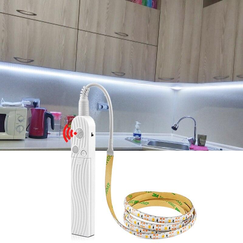 LED Strip on Batteries PIR Motion Sensor Detection TV Backlight lights for kitchen bedroom fita led strips 5V USB LED Tape Lamp(China)