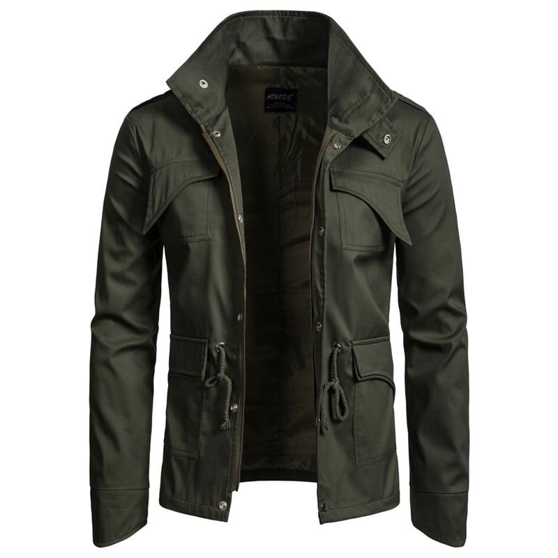 Jacket Men Causal Cotton Windbreaker Long Jackets Autumn Mens Military Outwear Flight Jacket Plus Size Men's Trench Pocket Coats