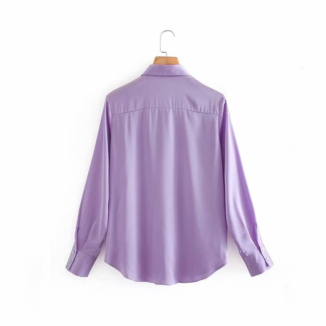 2020 New Fashion Silk Solid color Women Blouses Long Sleeve Turn-down Collar Chiffon Blouse Shirt Casual Tops Loose Work Shirt 3