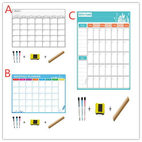 Magnetic Dry Erase Calendar For Fridge 3 Fine Tip Markers And Large Eraser With Magnets-Monthly Whiteboard For Refrigerator Wall