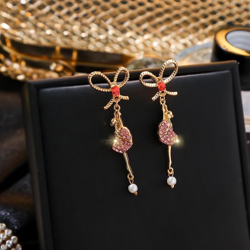 Korean Fashion Chic Long Earrings Jewelry For Women Bowknot Dancing Girls Drop Earrings 2020 New Personality Bijoux
