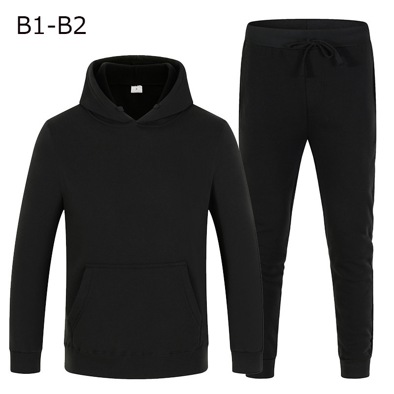 New hoodie suit sportswear men's fleece warm Sweatshirt solid color jogging men's sportswear sports suit homme two piece jacket