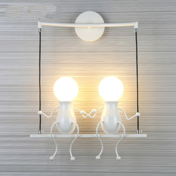 Children's Creative Wall Lamp Simple Modern Living Room Bedroom Bedside Lamp Corridor Corridor Stair Wrought Iron Lamp
