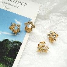 Creative Beautiful Butterfly Personality Flower Earrings Shining Crystal Stud For Women Best Gift